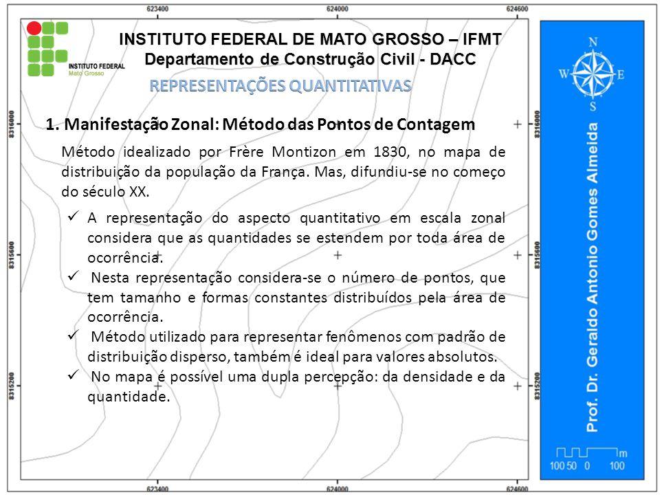 1. Manifestação Zonal: Método das Pontos de Contagem Método idealizado por Frère Montizon em 1830, no mapa de distribuição da população da França. Mas