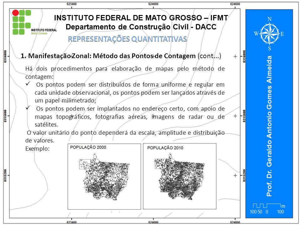 1. Manifestação Zonal: Método das Pontos de Contagem (cont...) Há dois procedimentos para elaboração de mapas pelo método de contagem: Os pontos podem