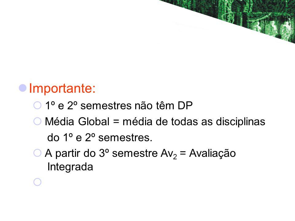 Importante: 1º e 2º semestres não têm DP Média Global = média de todas as disciplinas do 1º e 2º semestres.