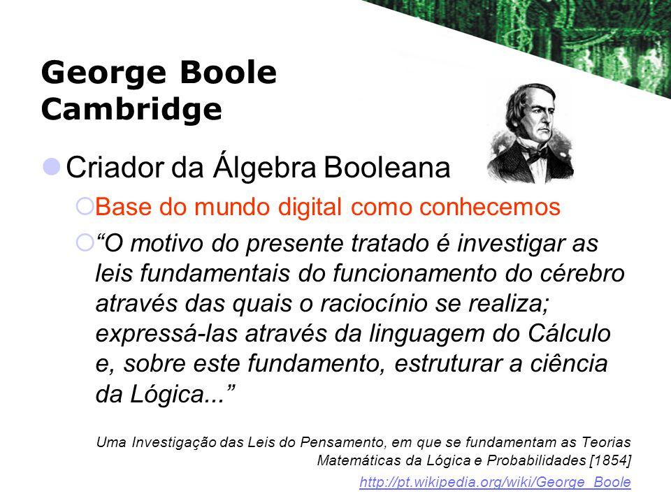George Boole Cambridge Criador da Álgebra Booleana Base do mundo digital como conhecemos O motivo do presente tratado é investigar as leis fundamentais do funcionamento do cérebro através das quais o raciocínio se realiza; expressá-las através da linguagem do Cálculo e, sobre este fundamento, estruturar a ciência da Lógica...