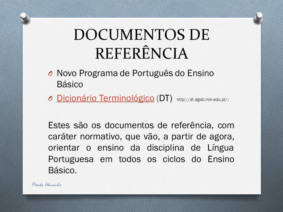 DOCUMENTOS DE REFERÊNCIA O Novo Programa de Português do Ensino Básico O Dicionário Terminológico (DT) http://dt.dgidc.min-edu.pt/) Dicionário Termino