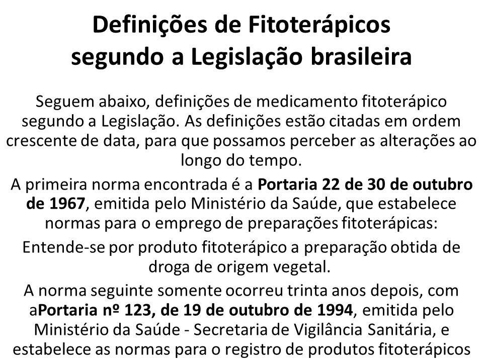 Definições de Fitoterápicos segundo a Legislação brasileira Seguem abaixo, definições de medicamento fitoterápico segundo a Legislação.