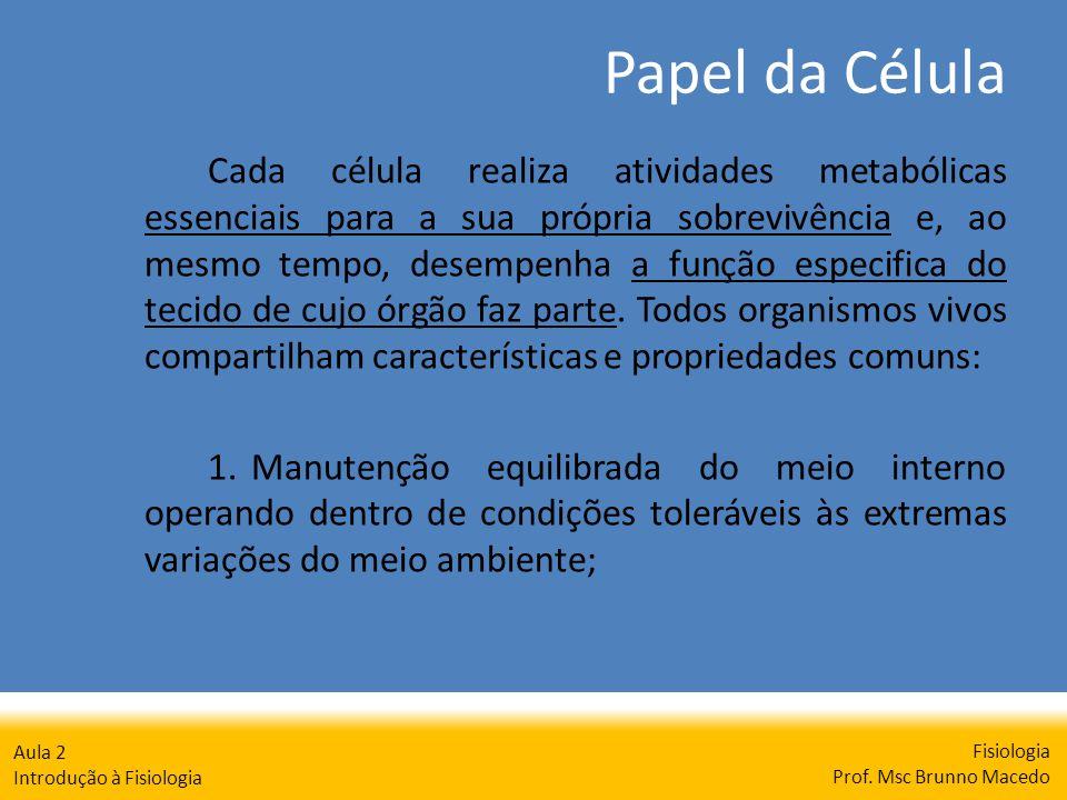 Papel da Célula Fisiologia Prof. Msc Brunno Macedo Aula 2 Introdução à Fisiologia Cada célula realiza atividades metabólicas essenciais para a sua pró