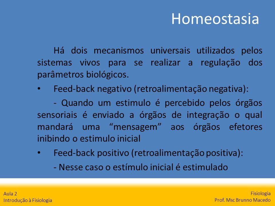 Homeostasia Fisiologia Prof. Msc Brunno Macedo Aula 2 Introdução à Fisiologia Há dois mecanismos universais utilizados pelos sistemas vivos para se re