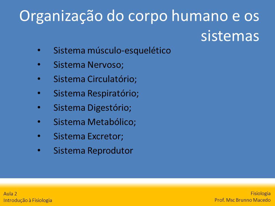 Organização do corpo humano e os sistemas Fisiologia Prof. Msc Brunno Macedo Aula 2 Introdução à Fisiologia Sistema músculo-esquelético Sistema Nervos