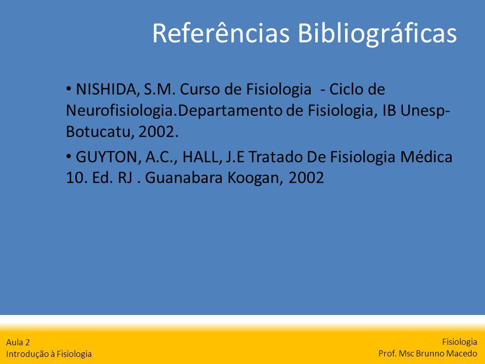 Referências Bibliográficas Fisiologia Prof. Msc Brunno Macedo Aula 2 Introdução à Fisiologia NISHIDA, S.M. Curso de Fisiologia - Ciclo de Neurofisiolo