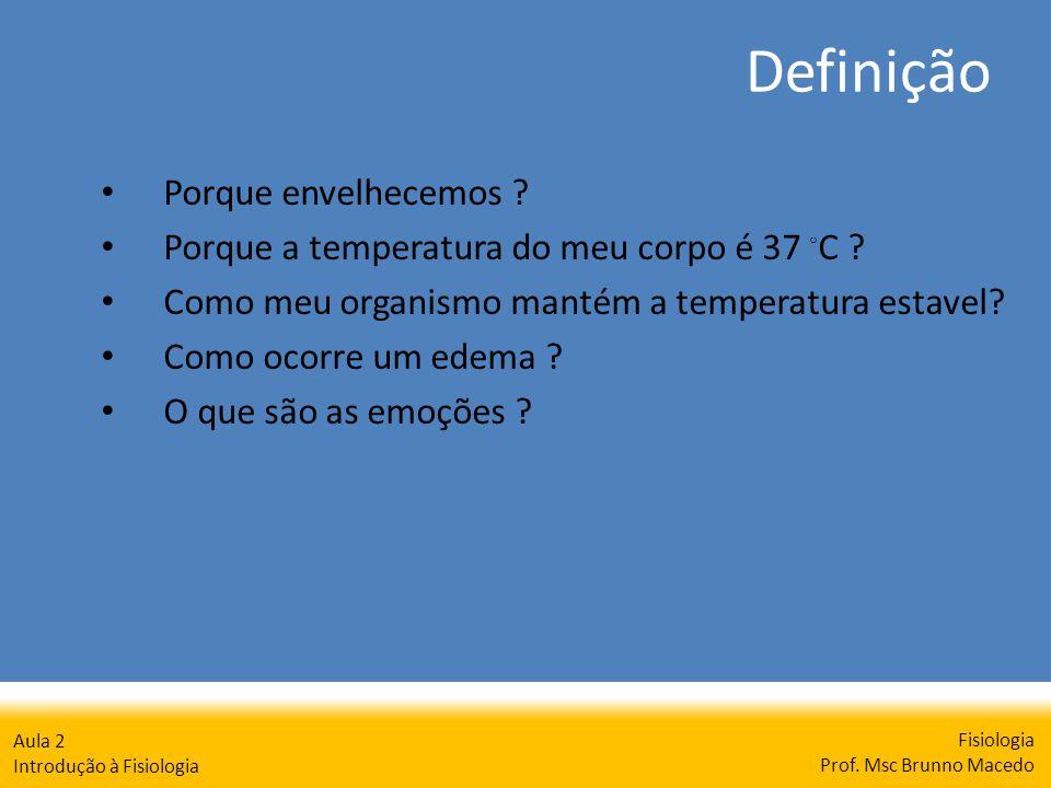 Definição Fisiologia Prof. Msc Brunno Macedo Aula 2 Introdução à Fisiologia Porque envelhecemos ? Porque a temperatura do meu corpo é 37 C ? Como meu