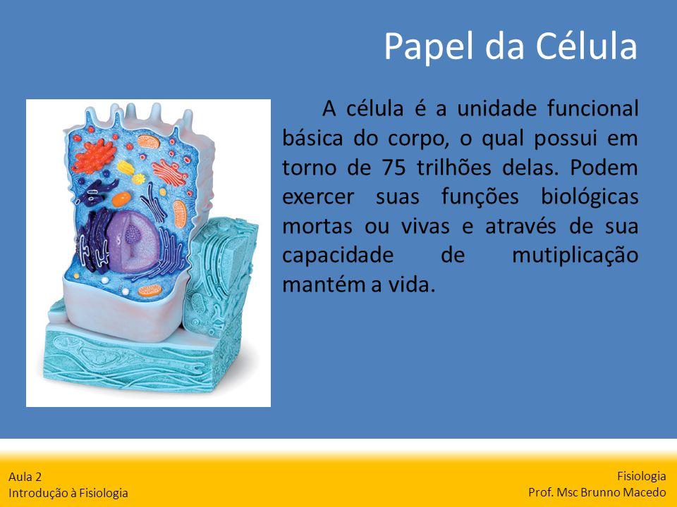 Papel da Célula Fisiologia Prof. Msc Brunno Macedo Aula 2 Introdução à Fisiologia A célula é a unidade funcional básica do corpo, o qual possui em tor
