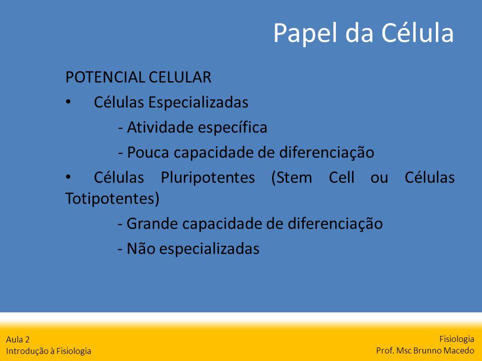 Papel da Célula Fisiologia Prof. Msc Brunno Macedo Aula 2 Introdução à Fisiologia POTENCIAL CELULAR Células Especializadas - Atividade específica - Po