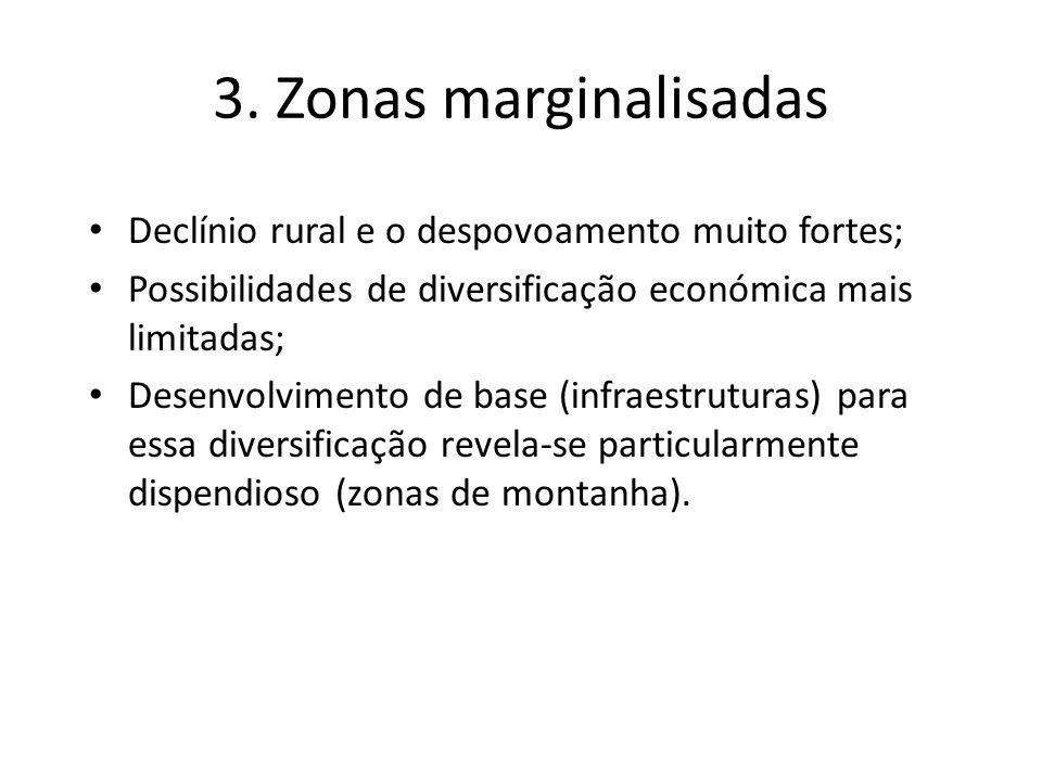 3. Zonas marginalisadas Declínio rural e o despovoamento muito fortes; Possibilidades de diversificação económica mais limitadas; Desenvolvimento de b