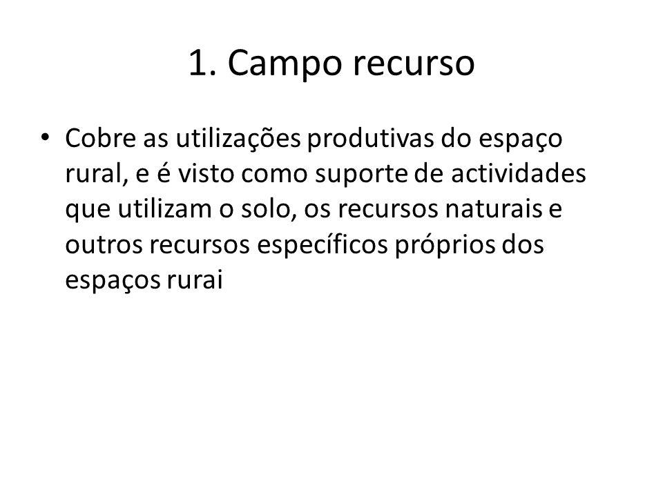 1. Campo recurso Cobre as utilizações produtivas do espaço rural, e é visto como suporte de actividades que utilizam o solo, os recursos naturais e ou