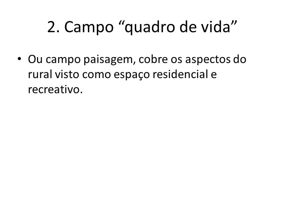 2. Campo quadro de vida Ou campo paisagem, cobre os aspectos do rural visto como espaço residencial e recreativo.