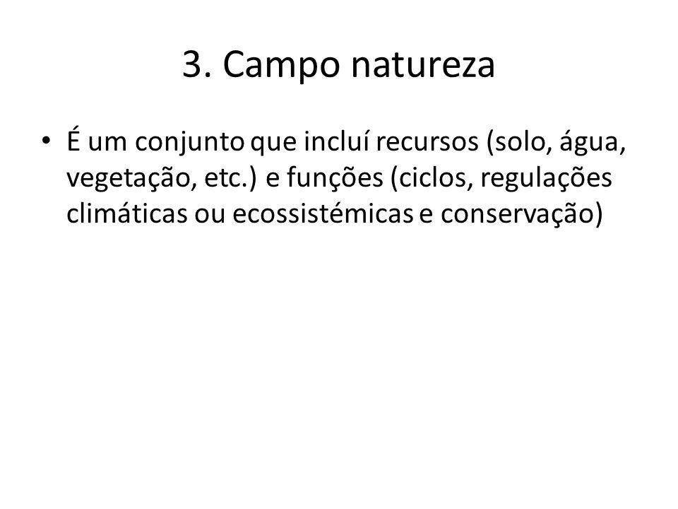 3. Campo natureza É um conjunto que incluí recursos (solo, água, vegetação, etc.) e funções (ciclos, regulações climáticas ou ecossistémicas e conserv