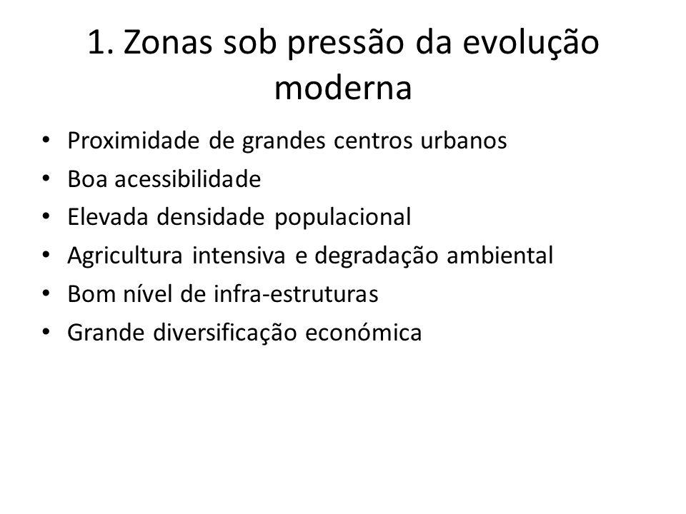 1. Zonas sob pressão da evolução moderna Proximidade de grandes centros urbanos Boa acessibilidade Elevada densidade populacional Agricultura intensiv