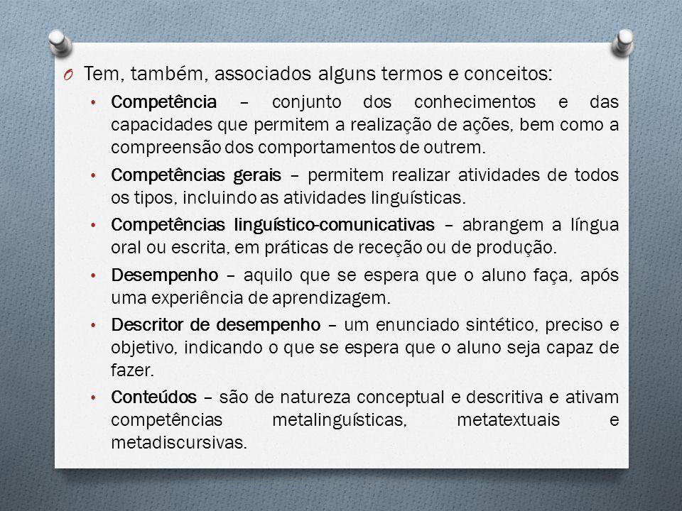 O Tem, também, associados alguns termos e conceitos: Competência – conjunto dos conhecimentos e das capacidades que permitem a realização de ações, be