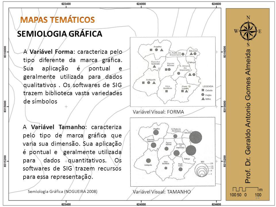 SEMIOLOGIA GRÁFICA Semiologia Gráfica (NOGUEIRA 2008) 14 Variável Visual: FORMA Variável Visual: TAMANHO A Variável Forma: caracteriza pelo tipo difer