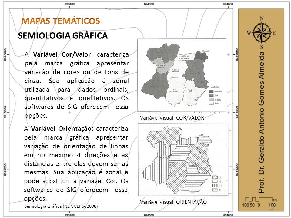 SEMIOLOGIA GRÁFICA Semiologia Gráfica (NOGUEIRA 2008) 15 Variável Visual: COR/VALOR Variável Visual: ORIENTAÇÃO A Variável Cor/Valor: caracteriza pela marca gráfica apresentar variação de cores ou de tons de cinza.