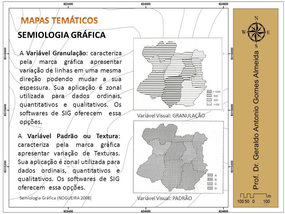 SEMIOLOGIA GRÁFICA Semiologia Gráfica (NOGUEIRA 2008) 16 Variável Visual: GRANULAÇÃO Variável Visual: PADRÃO A Variável Granulação: caracteriza pela marca gráfica apresentar variação de linhas em uma mesma direção podendo mudar a sua espessura.