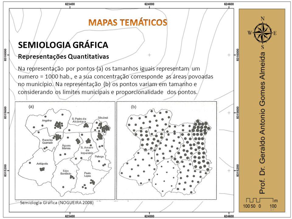 SEMIOLOGIA GRÁFICA Representações Quantitativas 17 Na representação por pontos (a) os tamanhos iguais representam um numero = 1000 hab., e a sua concentração corresponde as áreas povoadas no município.