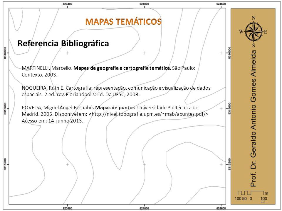 Referencia Bibliográfica MARTiNELLI, Marcello. Mapas da geografia e cartografia temática. São Paulo: Contexto, 2003. NOGUEIRA, Ruth E. Cartografia: re