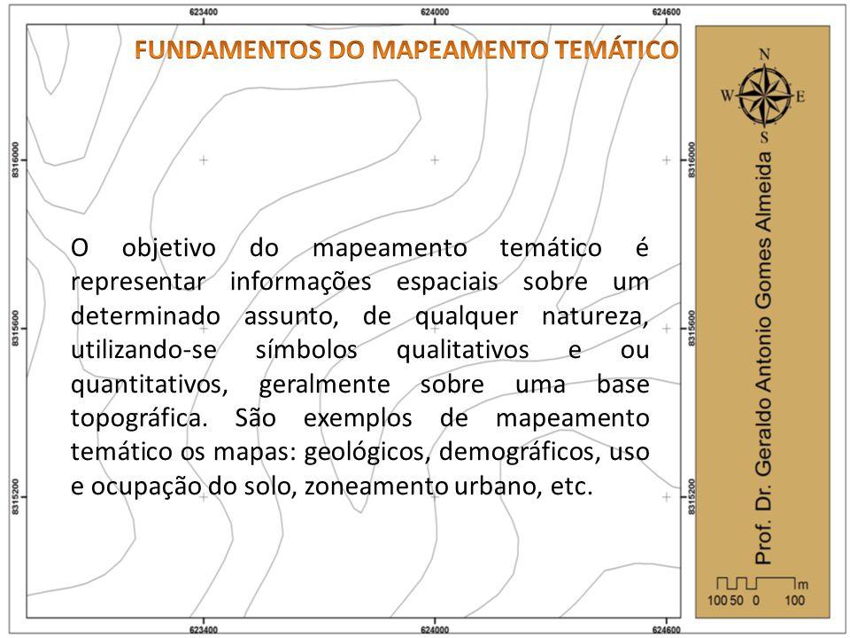O objetivo do mapeamento temático é representar informações espaciais sobre um determinado assunto, de qualquer natureza, utilizando-se símbolos qualitativos e ou quantitativos, geralmente sobre uma base topográfica.