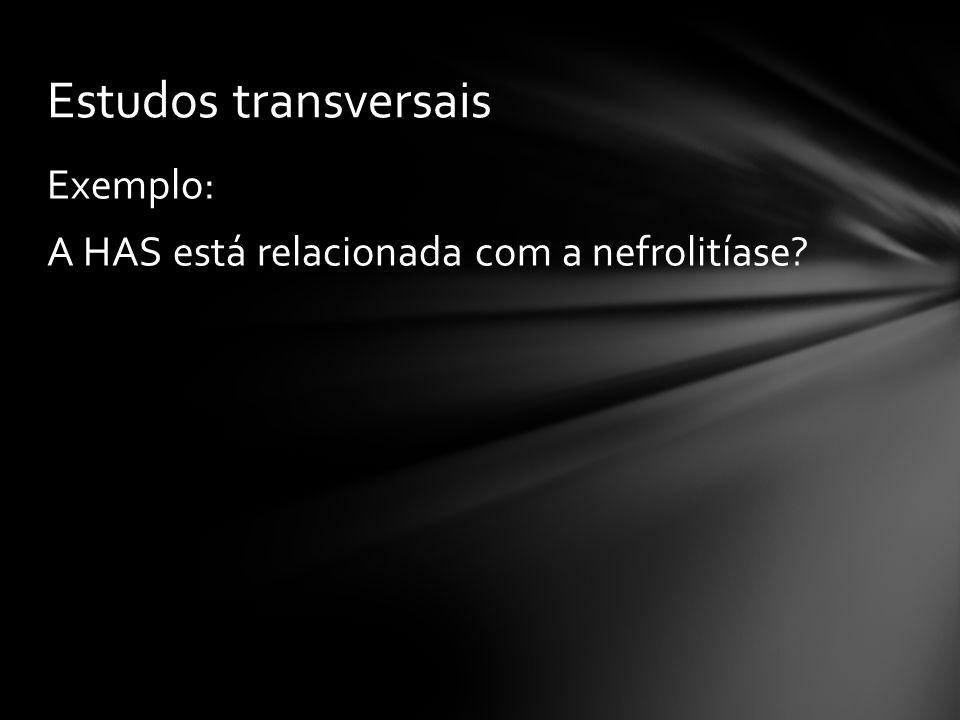 Exemplo: A HAS está relacionada com a nefrolitíase? Estudos transversais