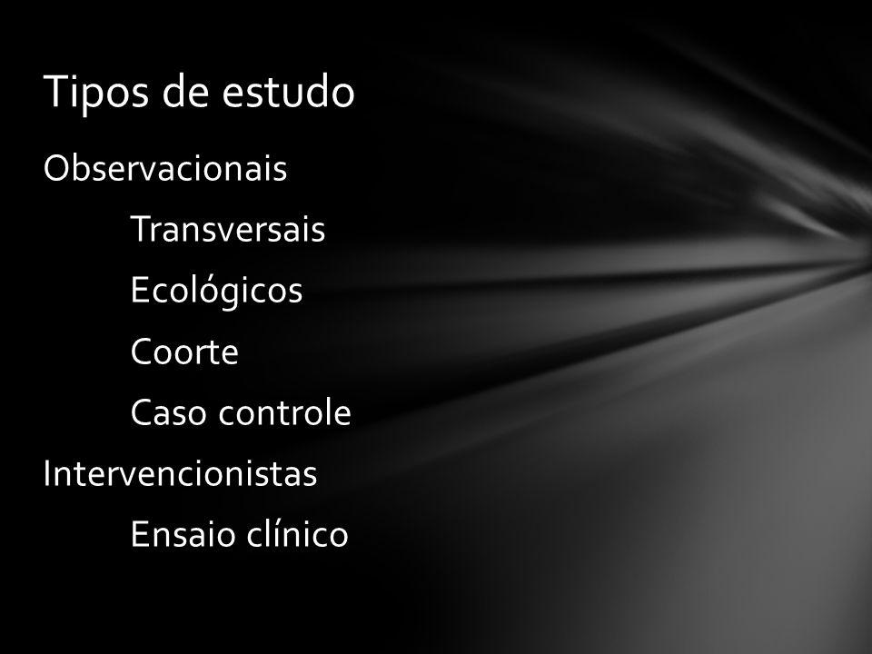 Tipos de estudo Observacionais Instantâneo Ao longo do tempo Intervencionistas Estudos transversais Estudos ecológicos Tópicos