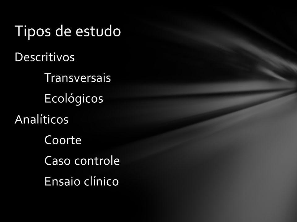 Descritivos Transversais Ecológicos Analíticos Coorte Caso controle Ensaio clínico Tipos de estudo