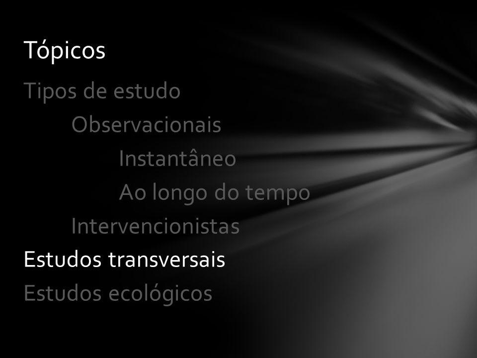 Observacionais Instantâneo Ao longo do tempo Intervencionistas Estudos transversais Estudos ecológicos Tópicos