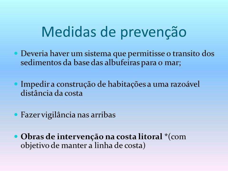 Medidas de prevenção Deveria haver um sistema que permitisse o transito dos sedimentos da base das albufeiras para o mar; Impedir a construção de habi