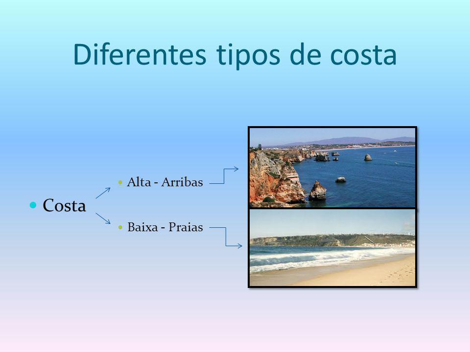 Diferentes tipos de costa Alta - Arribas Costa Baixa - Praias