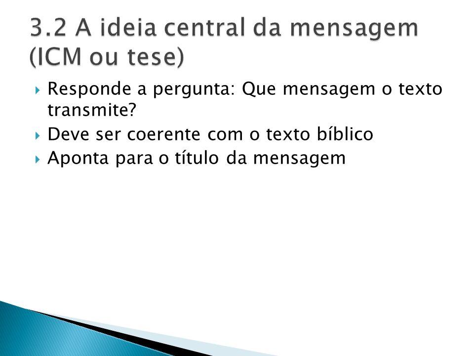 Responde a pergunta: Que mensagem o texto transmite? Deve ser coerente com o texto bíblico Aponta para o título da mensagem