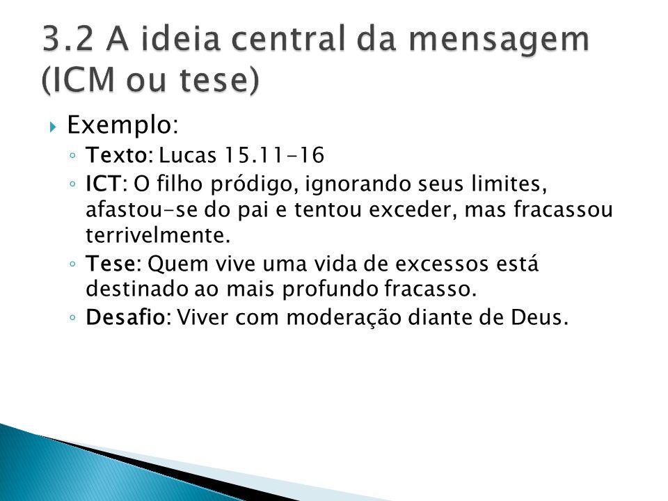 Exemplo: Texto: Lucas 15.11-16 ICT: O filho pródigo, ignorando seus limites, afastou-se do pai e tentou exceder, mas fracassou terrivelmente. Tese: Qu