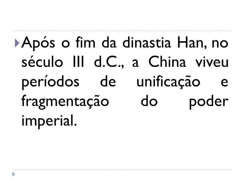 Após o fim da dinastia Han, no século III d.C., a China viveu períodos de unificação e fragmentação do poder imperial.