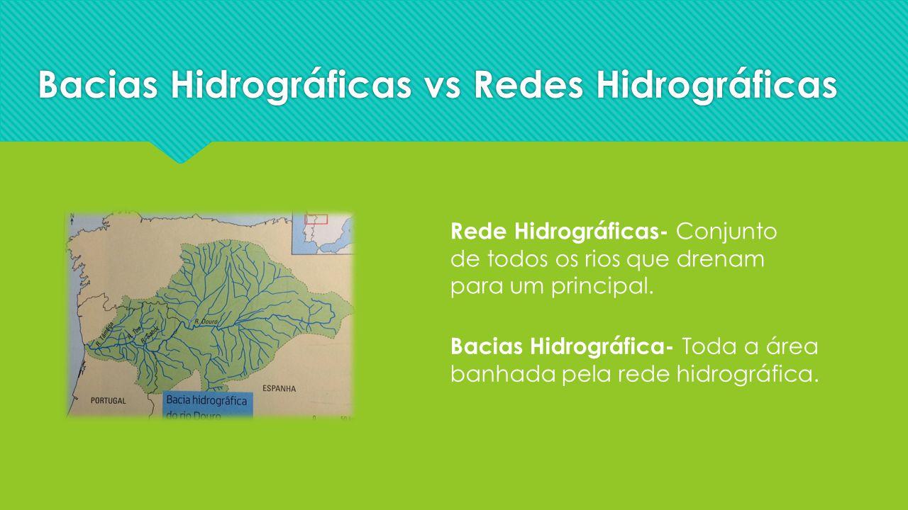 Bacias Hidrográficas vs Redes Hidrográficas Rede Hidrográficas- Conjunto de todos os rios que drenam para um principal. Bacias Hidrográfica- Toda a ár