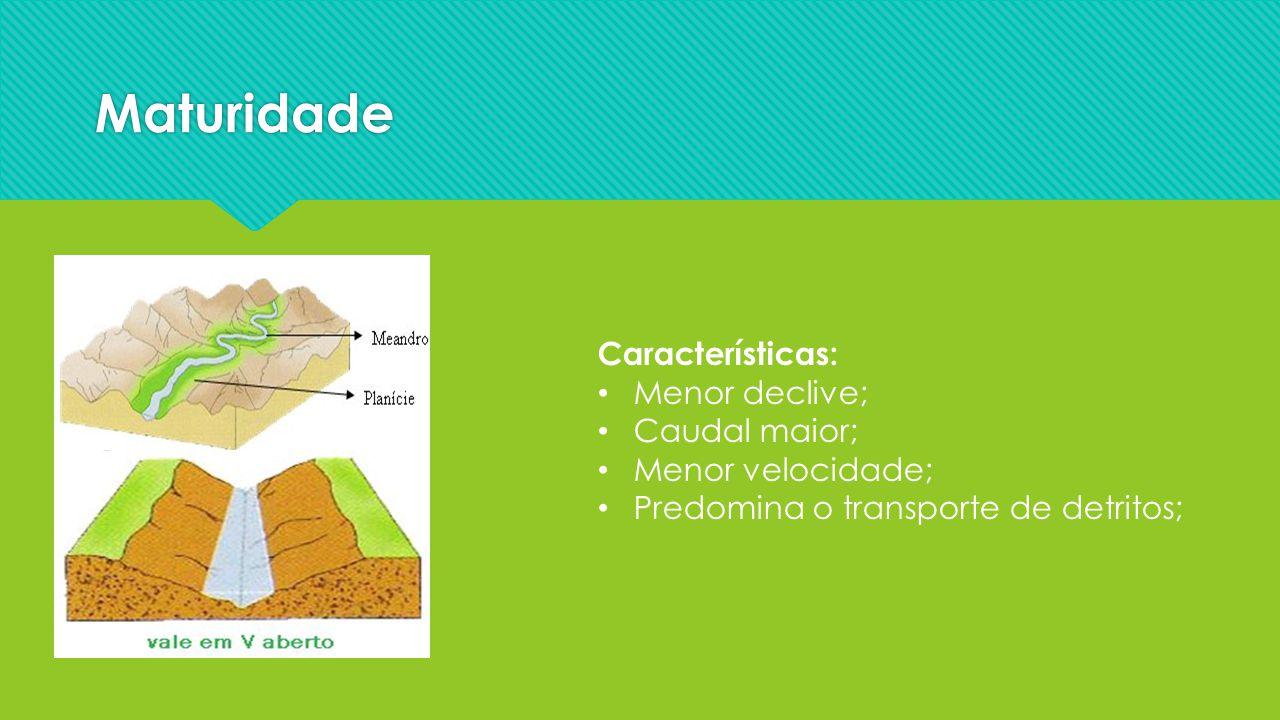 Maturidade Características: Menor declive; Caudal maior; Menor velocidade; Predomina o transporte de detritos;