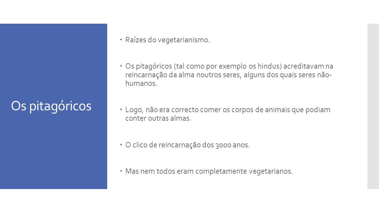 Os pitagóricos Raízes do vegetarianismo.