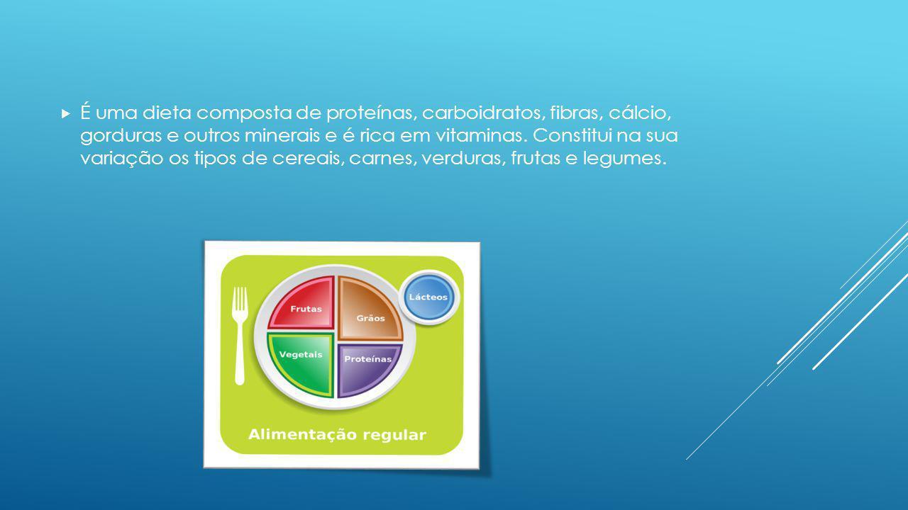 É uma dieta composta de proteínas, carboidratos, fibras, cálcio, gorduras e outros minerais e é rica em vitaminas. Constitui na sua variação os tipos