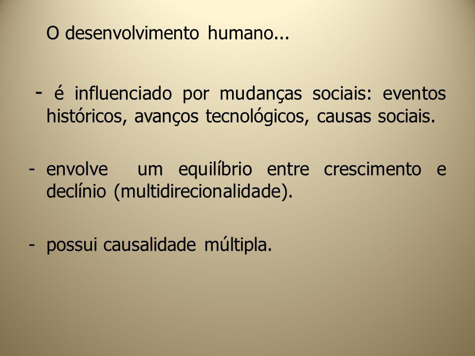 O desenvolvimento humano... - é influenciado por mudanças sociais: eventos históricos, avanços tecnológicos, causas sociais. -envolve um equilíbrio en