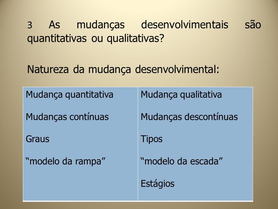 3 As mudanças desenvolvimentais são quantitativas ou qualitativas? Natureza da mudança desenvolvimental: Mudança quantitativa Mudanças contínuas Graus