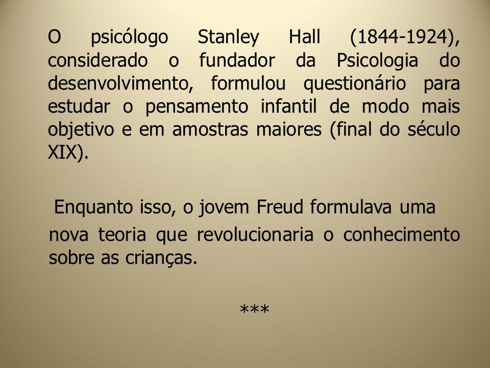 O psicólogo Stanley Hall (1844-1924), considerado o fundador da Psicologia do desenvolvimento, formulou questionário para estudar o pensamento infanti