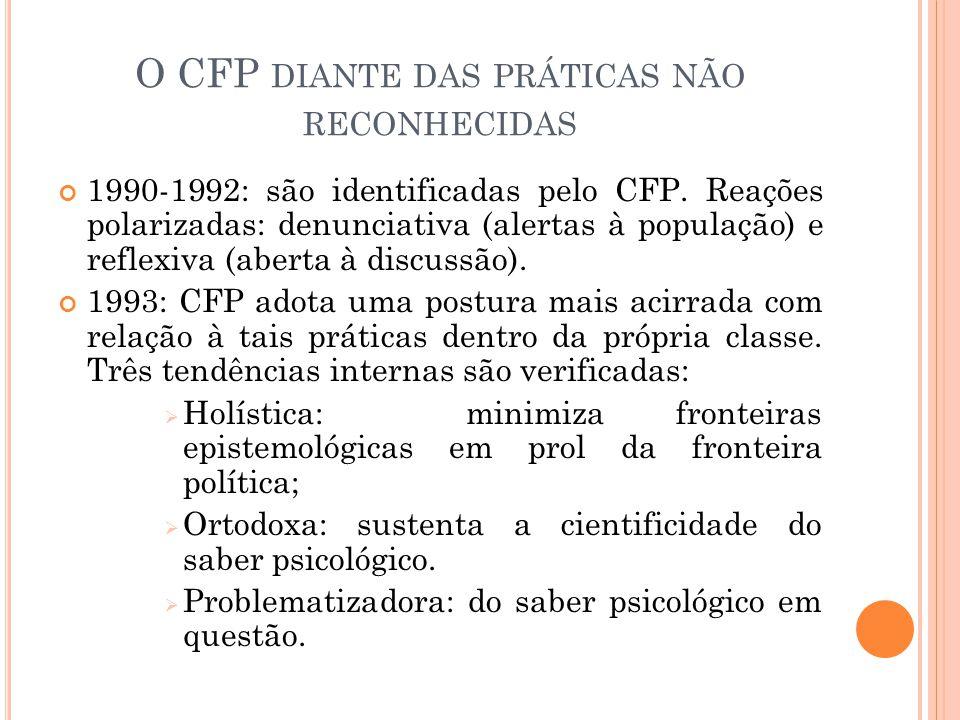 O CFP DIANTE DAS PRÁTICAS NÃO RECONHECIDAS 1990-1992: são identificadas pelo CFP. Reações polarizadas: denunciativa (alertas à população) e reflexiva