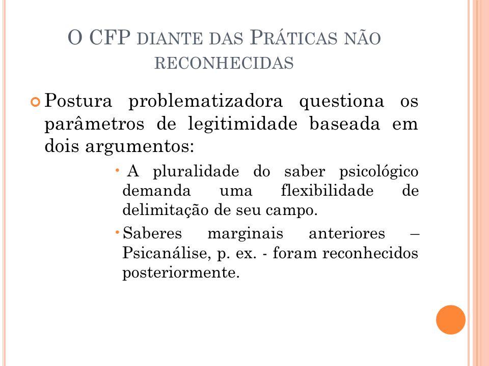 O CFP DIANTE DAS P RÁTICAS NÃO RECONHECIDAS Postura problematizadora questiona os parâmetros de legitimidade baseada em dois argumentos: A pluralidade