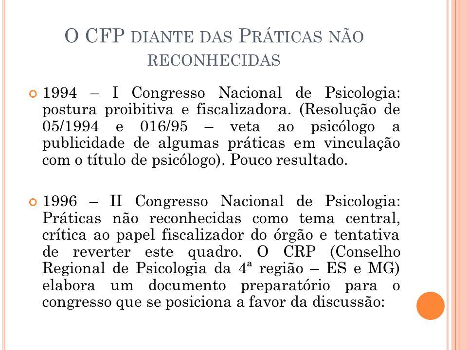 O CFP DIANTE DAS P RÁTICAS NÃO RECONHECIDAS 1994 – I Congresso Nacional de Psicologia: postura proibitiva e fiscalizadora. (Resolução de 05/1994 e 016
