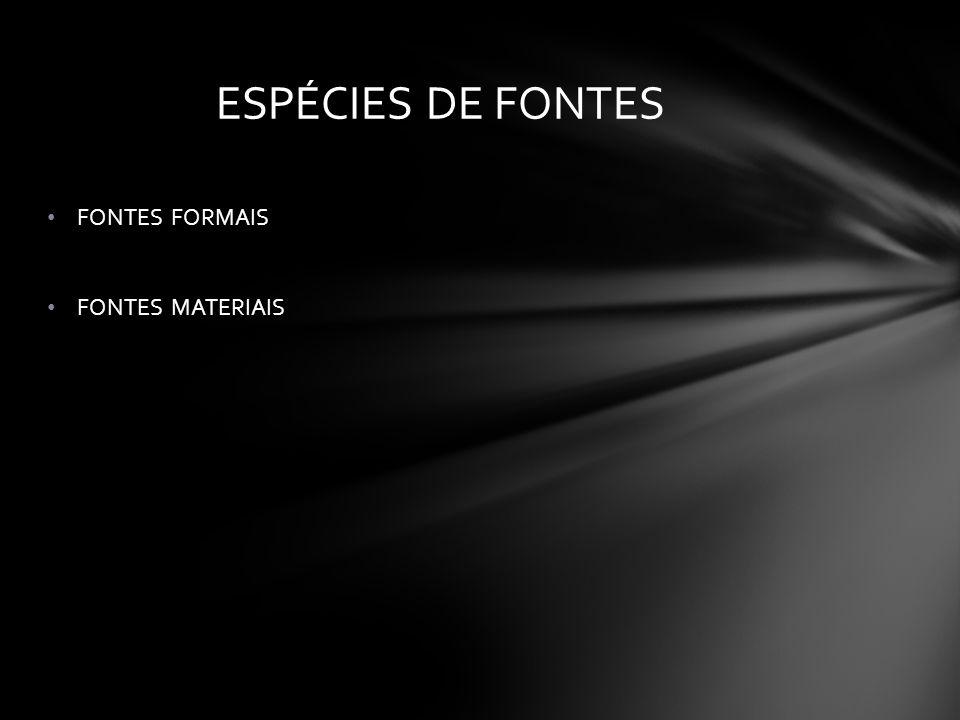 FONTES FORMAIS FONTES MATERIAIS ESPÉCIES DE FONTES