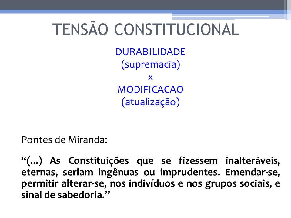 TENSÃO CONSTITUCIONAL DURABILIDADE (supremacia) x MODIFICACAO (atualização) Pontes de Miranda: (...) As Constituições que se fizessem inalteráveis, et