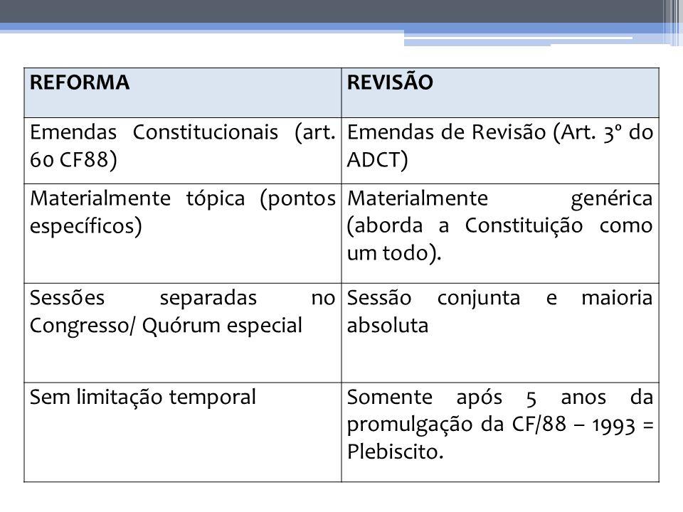 REFORMAREVISÃO Emendas Constitucionais (art. 60 CF88) Emendas de Revisão (Art. 3º do ADCT) Materialmente tópica (pontos específicos) Materialmente gen