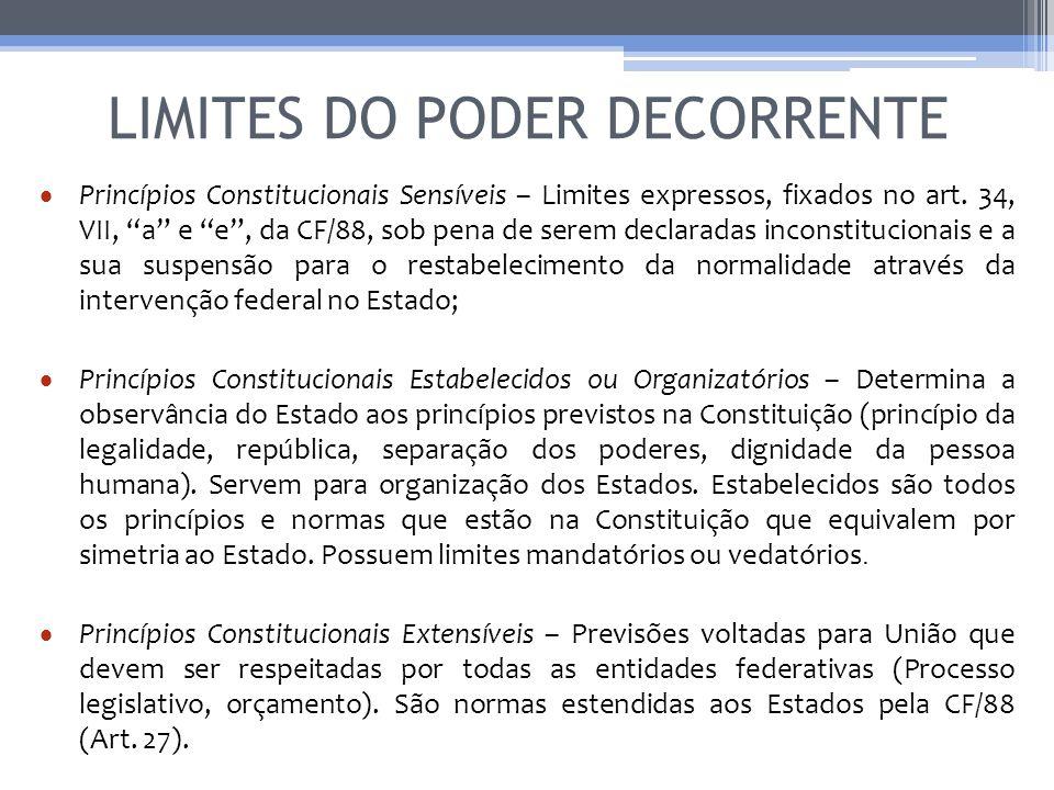 LIMITES DO PODER DECORRENTE Princípios Constitucionais Sensíveis – Limites expressos, fixados no art. 34, VII, a e e, da CF/88, sob pena de serem decl
