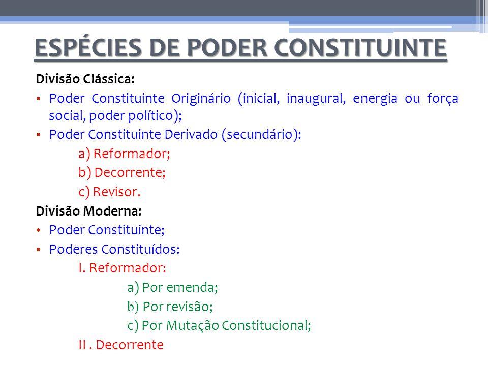 ESPÉCIES DE PODER CONSTITUINTE Divisão Clássica: Poder Constituinte Originário (inicial, inaugural, energia ou força social, poder político); Poder Co