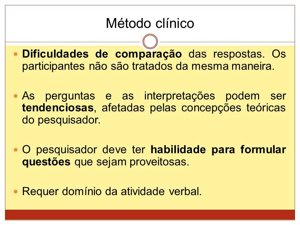 Método clínico Dificuldades de comparação das respostas. Os participantes não são tratados da mesma maneira. As perguntas e as interpretações podem se